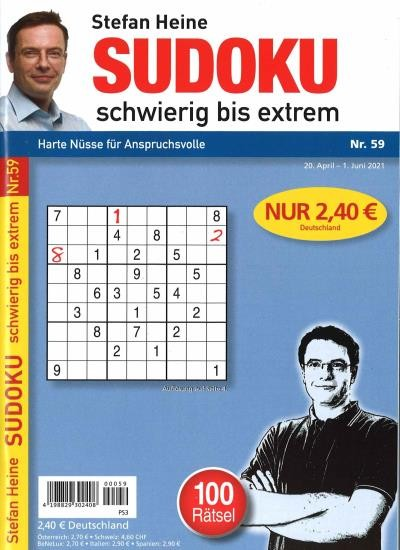 SUDOKU SCHWIERIG BIS EXTREM 59/2021