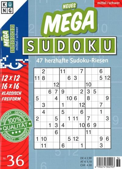 NEUES MEGA SUDOKU 36/2021